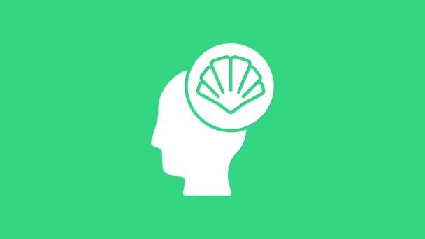 White Scallop mořská skořápka ikona izolované na zeleném pozadí. Nápis Seashell. Grafická animace pohybu videa 4K