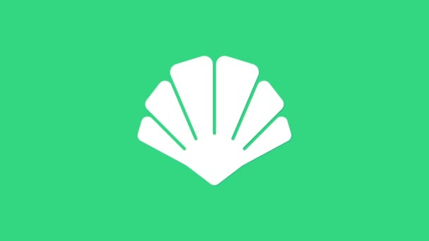 White Scallop sea shell icon isolated on green background. Seashell sign. 4K Video motion graphic animation