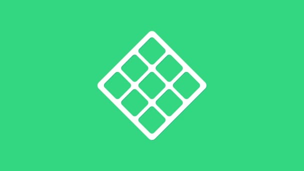 White Waffle icon isolated on green background. 4K Video motion graphic animation