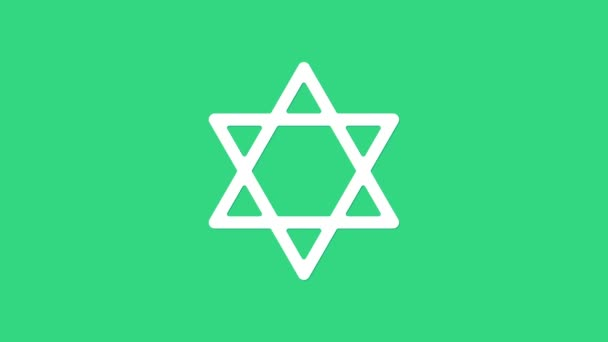 Fehér Csillag Dávid ikon elszigetelt zöld alapon. Zsidó vallási szimbólum. Izrael szimbóluma. 4K Videó mozgás grafikus animáció