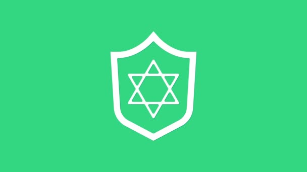 White Shield with Star of David icon isolated on green background. Jewish religion symbol. Symbol of Israel. 4K Video motion graphic animation