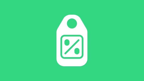 White Price címke felirattal Eladó ikon elszigetelt zöld alapon. A jelvény ára. Promo tag kedvezmény. 4K Videó mozgás grafikus animáció