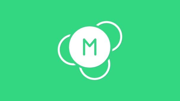 Ikona Bílá molekula izolovaná na zeleném pozadí. Struktura molekul v chemii, učitelé vědy, novátorský vzdělávací plakát. Grafická animace pohybu videa 4K