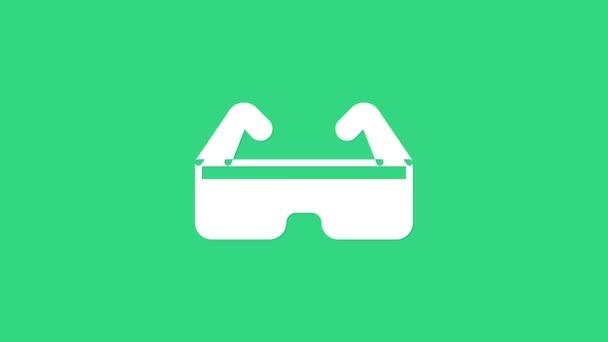 Weiße Schutzbrille, Symbol isoliert auf grünem Hintergrund. 4K Video Motion Grafik Animation