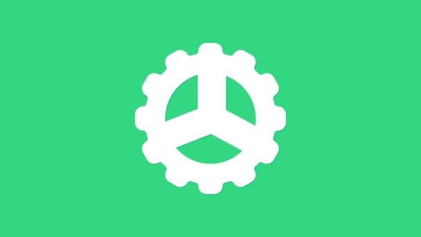 Weißes Fahrradkurbel-Symbol isoliert auf grünem Hintergrund. 4K Video Motion Grafik Animation