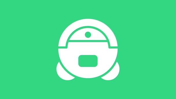 White Robot Staubsauger Symbol isoliert auf grünem Hintergrund. Smart Home Gerät zum automatischen Staubsaugen, digitales Gerät für die Hausreinigung. 4K Video Motion Grafik Animation