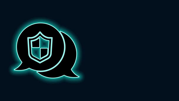 Világító neon vonal Helyszín pajzs ikon elszigetelt fekete háttér. Biztosítási koncepció. Őrség jel. Biztonság, biztonság, védelem, adatvédelem. 4K Videó mozgás grafikus animáció