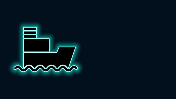 Glowing neon line Ship icon isolated on black background. Insurance concept. Security, safety, protection, protect concept. 4K Video motion graphic animation