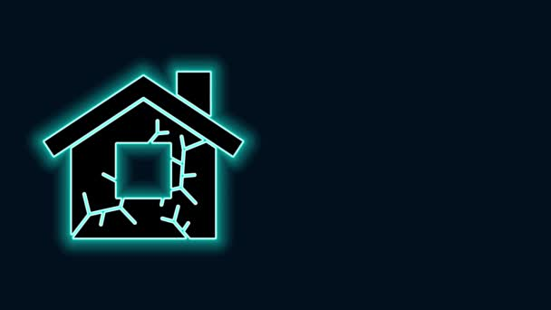 Glowing neon line House icon isolated on black background. Insurance concept. Security, safety, protection, protect concept. 4K Video motion graphic animation