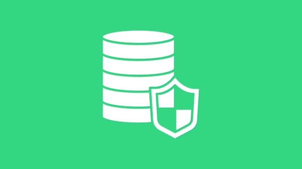 Fehér pénz pajzs ikon elszigetelt zöld alapon. Biztosítási koncepció. Biztonság, biztonság, védelem, védelem. 4K Videó mozgás grafikus animáció