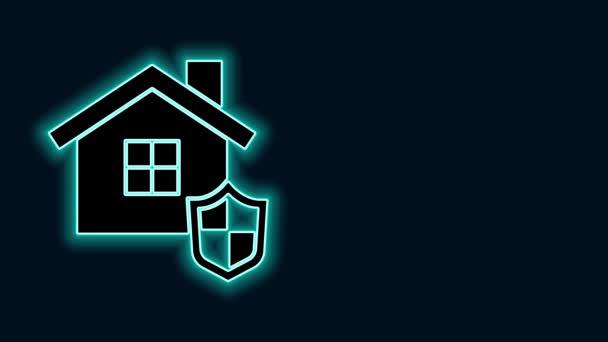 Zářící neonová čára Dům s ikonou štítu izolované na černém pozadí. Pojištění. Zabezpečení, bezpečnost, ochrana, koncepce ochrany. Grafická animace pohybu videa 4K