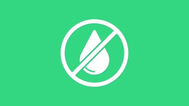 White Water csepp tiltott ikon elszigetelt zöld háttérrel. Nincs vízjel. 4K Videó mozgás grafikus animáció