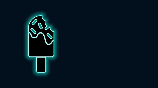 Zářící neonová čára Ikona zmrzliny izolovaná na černém pozadí. Pěkný symbol. Grafická animace pohybu videa 4K