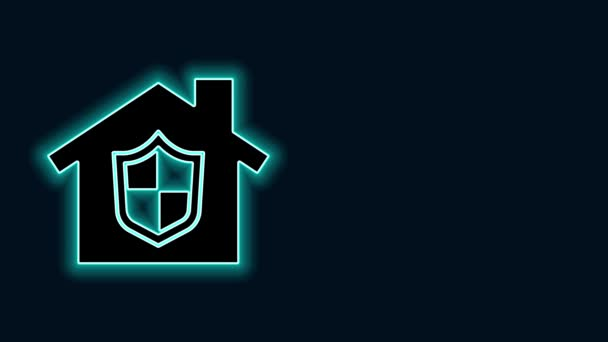Glowing neon line House under protection icon isolated on black background. Home and shield. Protection, safety, security, protect, defense concept. 4K Video motion graphic animation