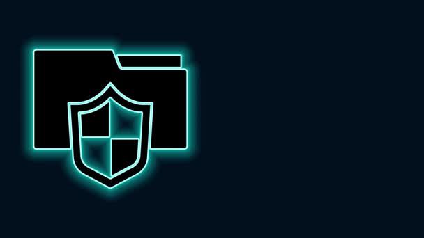 Zářící neonový řádek Ikona konceptu ochrany složek dokumentů izolovaná na černém pozadí. Důvěrné informace a soukromí, stráž, štít. Grafická animace pohybu videa 4K