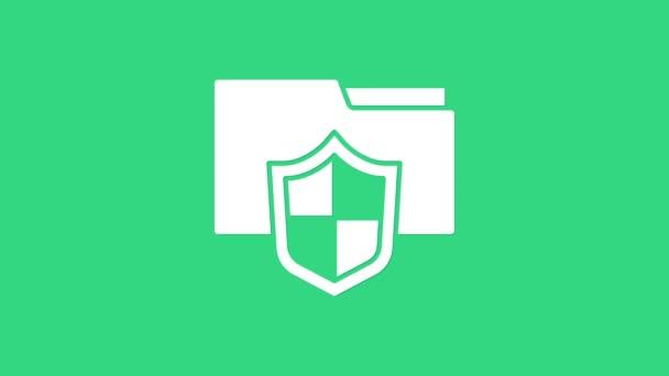 Fehér Dokumentum mappa védelmi koncepció ikon elszigetelt zöld háttér. Bizalmas információ és magánélet ötlet, őr, pajzs. 4K Videó mozgás grafikus animáció