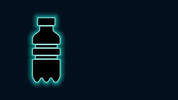 Glowing neon line Bottle of water icon isolated on black background. Soda aqua drink sign. 4K Video motion graphic animation