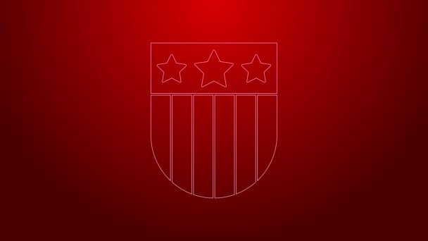 Green line Shield with stars and stripes icon isolated on red background. United States of America country flag. 4th of July. USA Independence day. 4K Video motion graphic animation