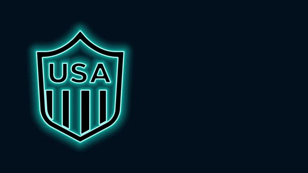 Glowing neon line Shield with stars and stripes icon isolated on black background. United States of America country flag. 4th of July. USA Independence day. 4K Video motion graphic animation