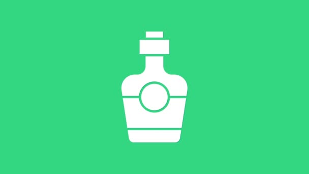 White Tequila bottle icon isolated on green background. Mexican alcohol drink. 4K Video motion graphic animation