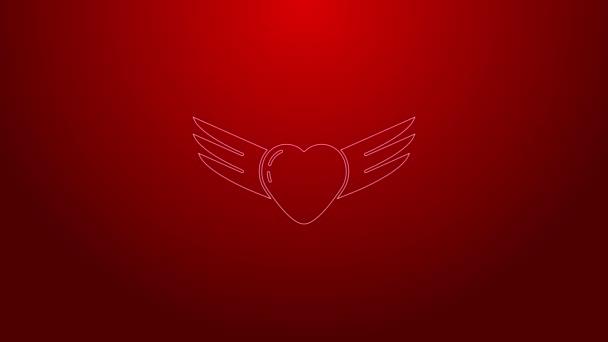 Zöld vonal Szív szárnyak ikon elszigetelt piros háttérrel. Szerelem szimbólum. Valentin nap. 4K Videó mozgás grafikus animáció