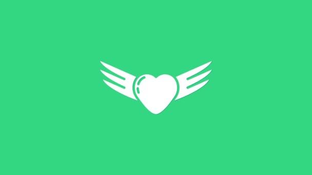 Fehér Szív szárnyakkal ikon elszigetelt zöld háttérrel. Szerelem szimbólum. Valentin nap. 4K Videó mozgás grafikus animáció