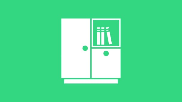 Weißes Kleiderschrank-Symbol isoliert auf grünem Hintergrund. 4K Video Motion Grafik Animation