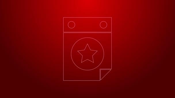 Zelená čára Den kalendář s datem 4. července ikona izolované na červeném pozadí. Den nezávislosti USA. Čtvrtého července. Grafická animace pohybu videa 4K