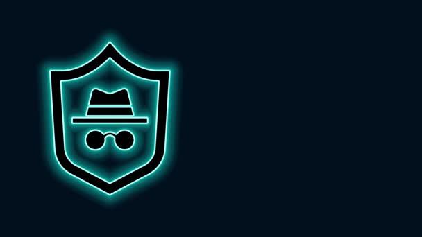 Zářící neonová čára Ikona anonymního režimu izolovaná na černém pozadí. Grafická animace pohybu videa 4K