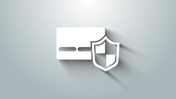 Weiße Kreditkarte mit Schildsymbol auf grauem Hintergrund. Online-Zahlung. Barabhebungen. Finanzgeschäfte. Einkaufsschild. 4K Video Motion Grafik Animation