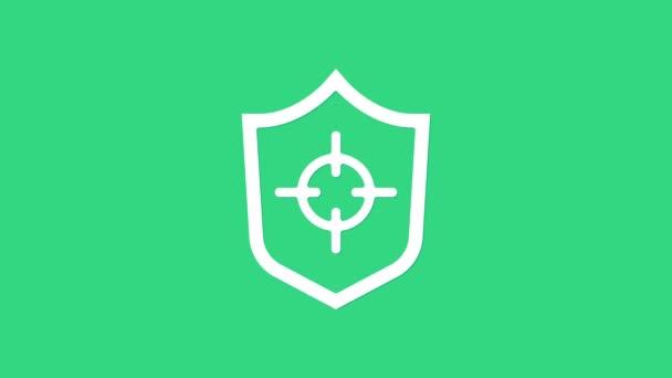 Weißes Schild-Symbol isoliert auf grünem Hintergrund. Wachschild. Sicherheit, Sicherheit, Schutz, Privatsphäre. 4K Video Motion Grafik Animation
