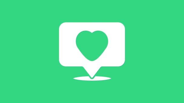 Bílé jako a srdce ikona izolované na zeleném pozadí. Ikona oznámení čítače Následuje Insta. Grafická animace pohybu videa 4K