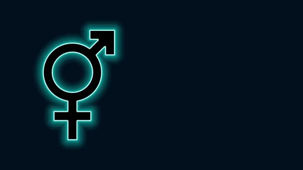 Leuchtende Leuchtschrift Geschlechtssymbol isoliert auf schwarzem Hintergrund. Symbole von Männern und Frauen. Sexsymbol. 4K Video Motion Grafik Animation