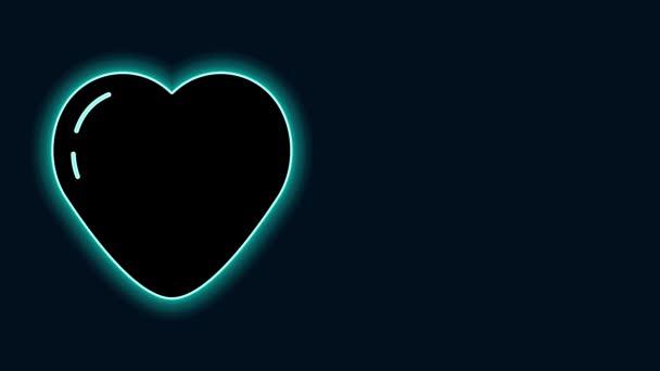 Leuchtende Leuchtschrift Herz-Symbol isoliert auf schwarzem Hintergrund. Romantische Symbole verbinden, verbinden, Leidenschaft und Hochzeit. Valentinstag-Symbol. 4K Video Motion Grafik Animation