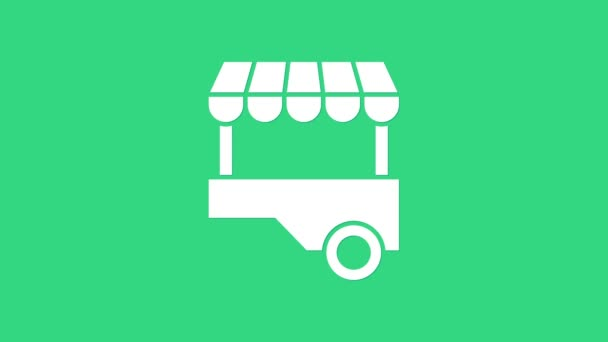White Fast street food cart with awning icon isolated on green background. Urban kiosk. 4K Video motion graphic animation
