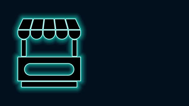 Žhnoucí neonová čára Rychlé pouliční vozík s markýzou ikona izolované na černém pozadí. Městský stánek. Grafická animace pohybu videa 4K