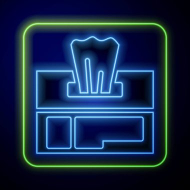 Glowing neon Wet wipe pack icon isolated on blue background.  Vector Illustration. icon