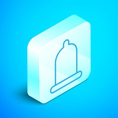 Isometric line Condom safe sex icon isolated on blue background. Safe love symbol. Contraceptive method for male. Silver square button. Vector Illustration. icon