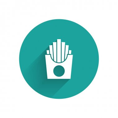 White Potatoes french fries in carton package box icon isolated with long shadow. Fast food menu. Green circle button. Vector. icon
