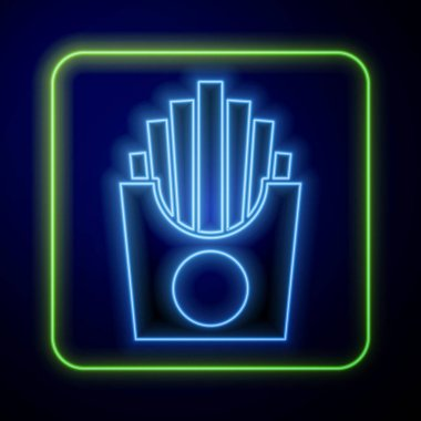 Glowing neon Potatoes french fries in carton package box icon isolated on blue background. Fast food menu.  Vector. icon