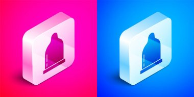 Isometric Condom icon isolated on pink and blue background. Safe love symbol. Contraceptive method for male. Silver square button. Vector. icon