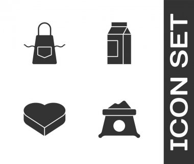 Set Bag of flour, Kitchen apron, Candy in heart shaped box and Paper package for milk icon. Vector. icon