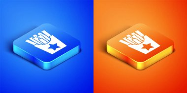 Isometric Potatoes french fries in carton package box icon isolated on blue and orange background. Fast food menu. Square button. Vector. icon