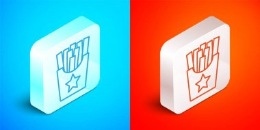 Isometric line Potatoes french fries in carton package box icon isolated on blue and red background. Fast food menu. Silver square button. Vector. icon