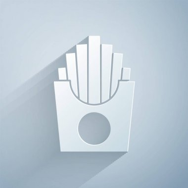 Paper cut Potatoes french fries in carton package box icon isolated on grey background. Fast food menu. Paper art style. Vector. icon