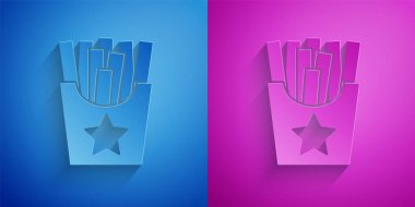 Paper cut Potatoes french fries in carton package box icon isolated on blue and purple background. Fast food menu. Paper art style. Vector. icon