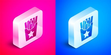 Isometric Potatoes french fries in carton package box icon isolated on pink and blue background. Fast food menu. Silver square button. Vector. icon