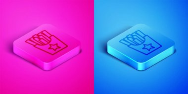 Isometric line Potatoes french fries in carton package box icon isolated on pink and blue background. Fast food menu. Square button. Vector. icon