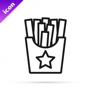 Black line Potatoes french fries in carton package box icon isolated on white background. Fast food menu.  Vector. icon
