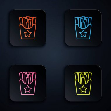 Color neon line Potatoes french fries in carton package box icon isolated on black background. Fast food menu. Set icons in square buttons. Vector. icon
